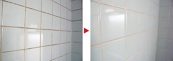 お風呂場壁面クリーニング2
