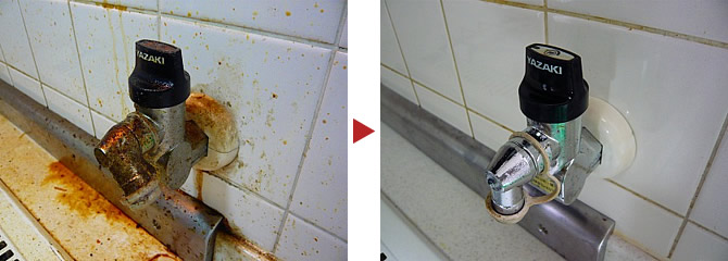 炊飯器用ガスコックのクリーニング