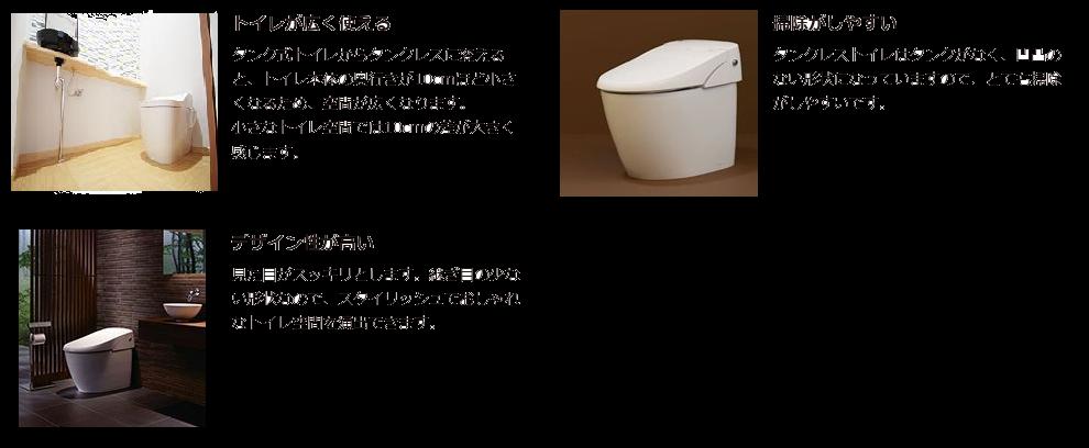 トイレタンクレスのメリット