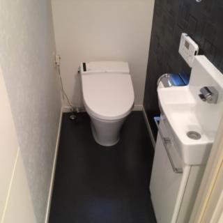 アクセントにトイレの壁一面のクロスを変更