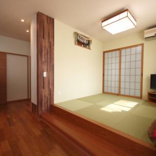和室の収納棚を壁にして室内をすっきり!