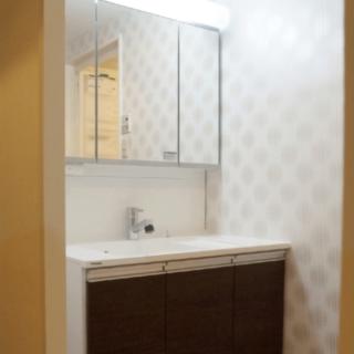洗面所は以前より明るくなるよう、照明が幅広いものを採用。